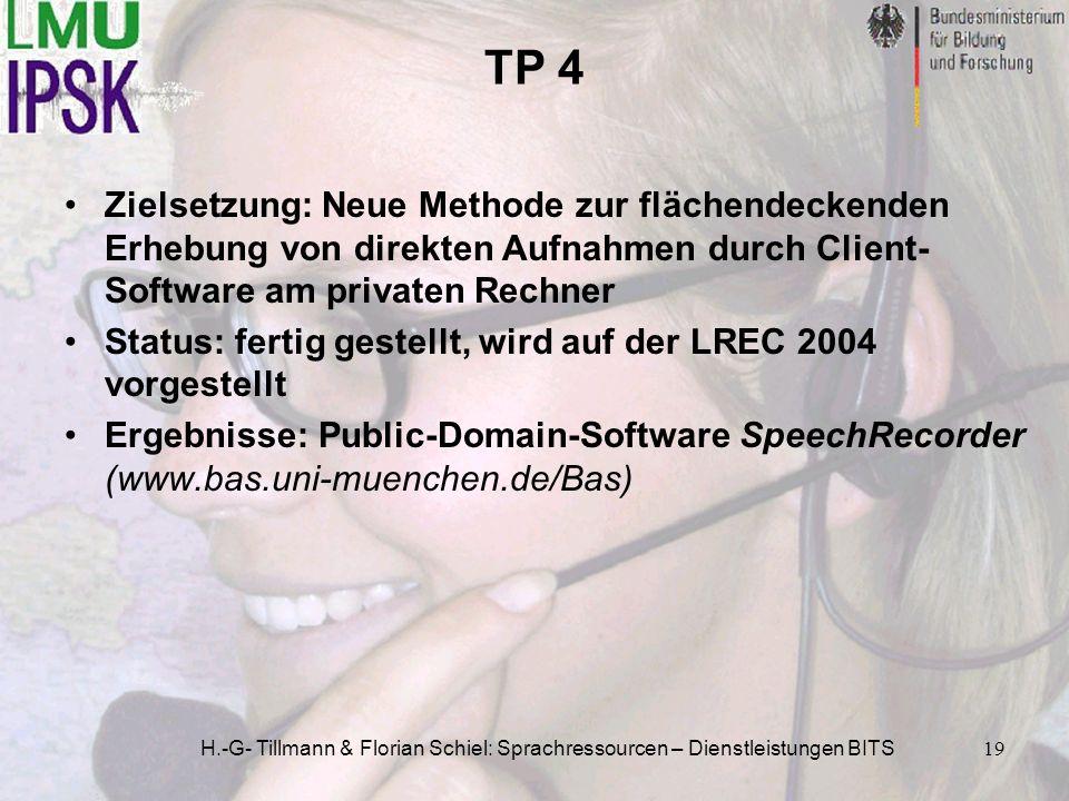 TP 4 Zielsetzung: Neue Methode zur flächendeckenden Erhebung von direkten Aufnahmen durch Client-Software am privaten Rechner.