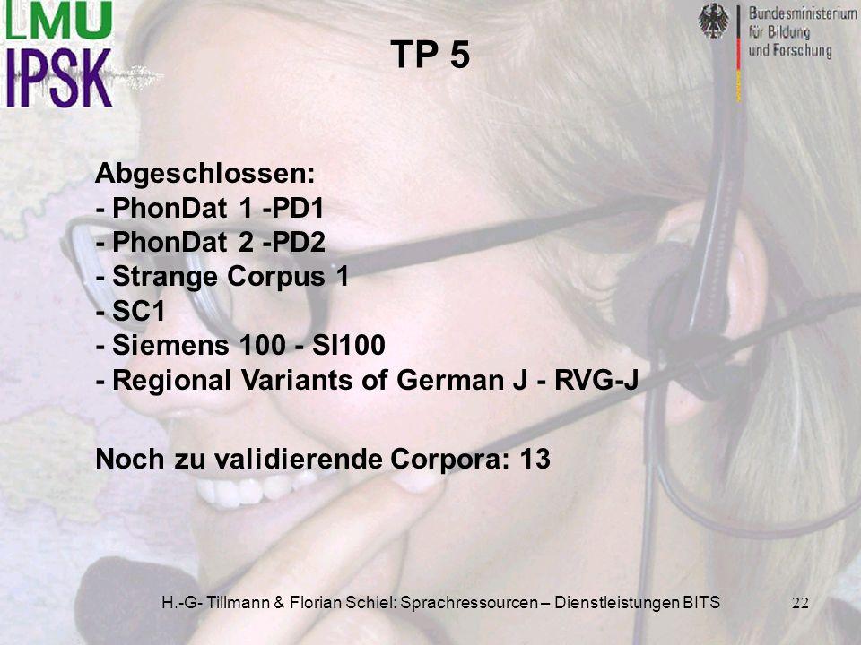TP 5 Abgeschlossen: - PhonDat 1 -PD1 - PhonDat 2 -PD2 - Strange Corpus 1 - SC1 - Siemens 100 - SI100 - Regional Variants of German J - RVG-J.