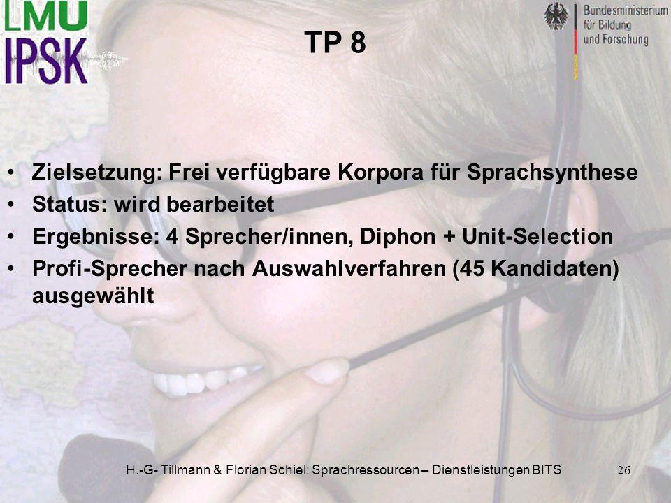 TP 8 Zielsetzung: Frei verfügbare Korpora für Sprachsynthese