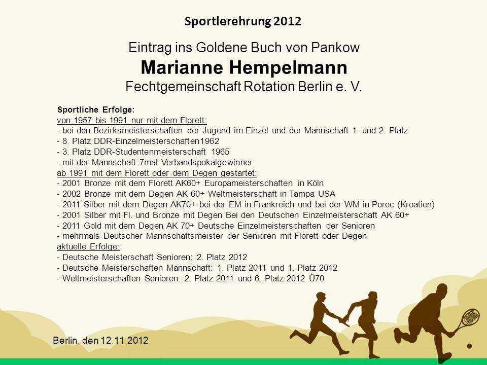 Sportlerehrung 2012 Eintrag ins Goldene Buch von Pankow Marianne Hempelmann Fechtgemeinschaft Rotation Berlin e. V.