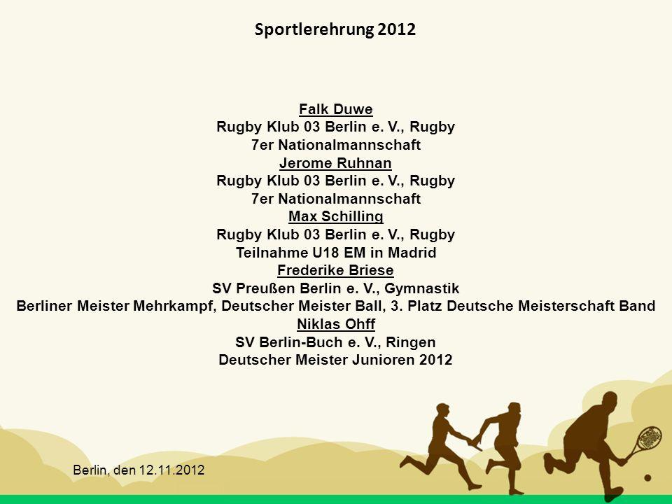 Sportlerehrung 2012 Falk Duwe Rugby Klub 03 Berlin e. V., Rugby