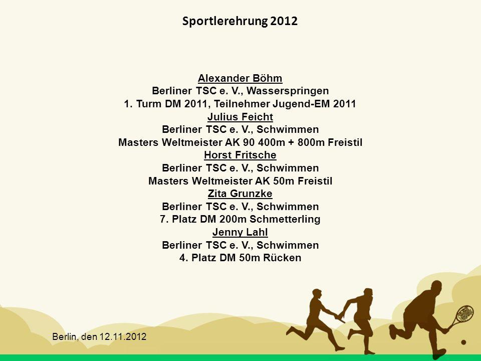 Sportlerehrung 2012 Alexander Böhm Berliner TSC e. V., Wasserspringen