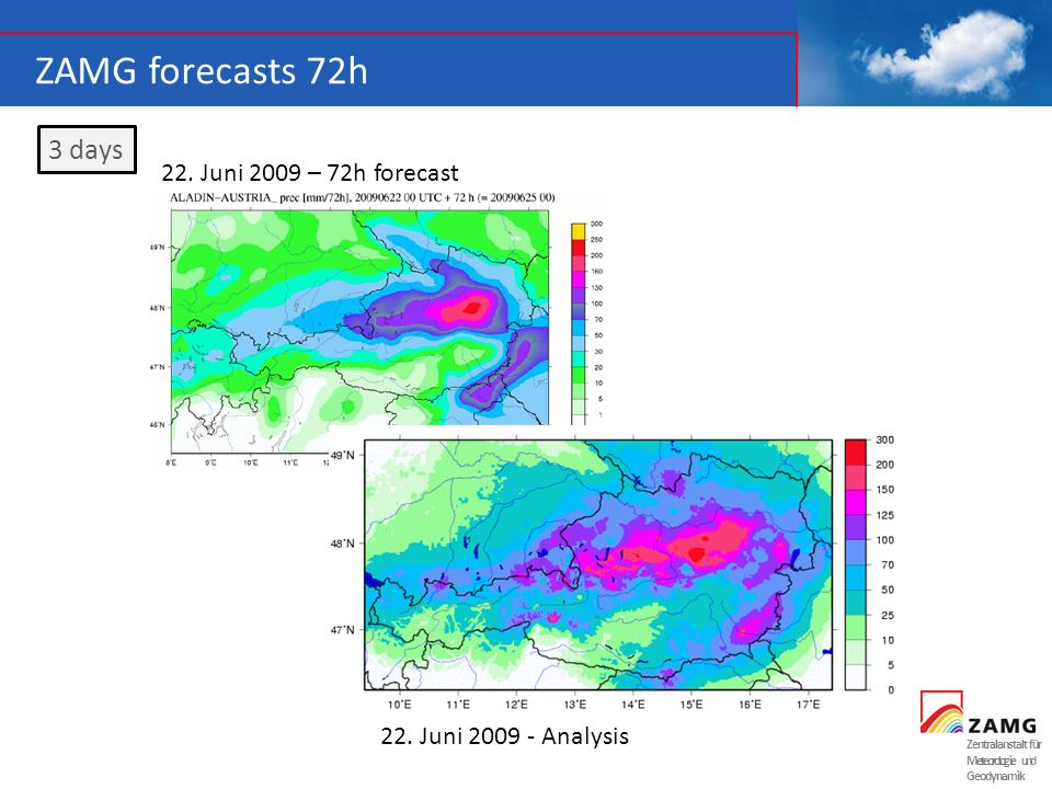ZAMG forecasts 72h 3 days 22. Juni 2009 – 72h forecast