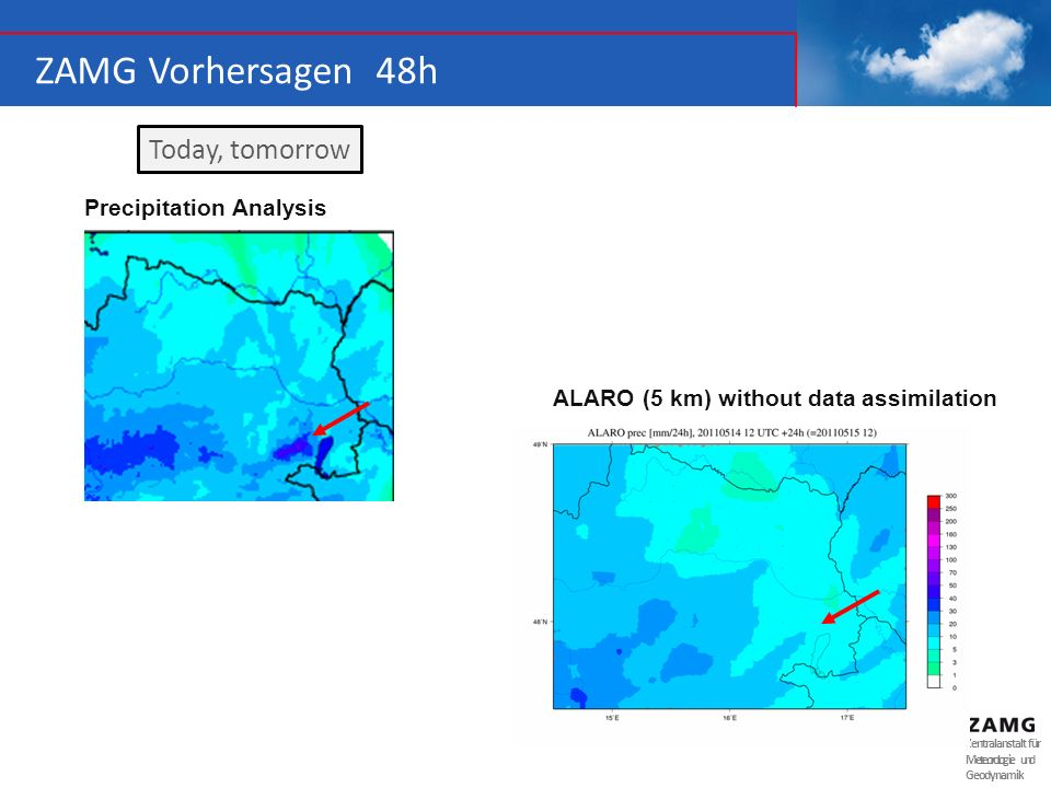 ZAMG Vorhersagen 48h Today, tomorrow Precipitation Analysis