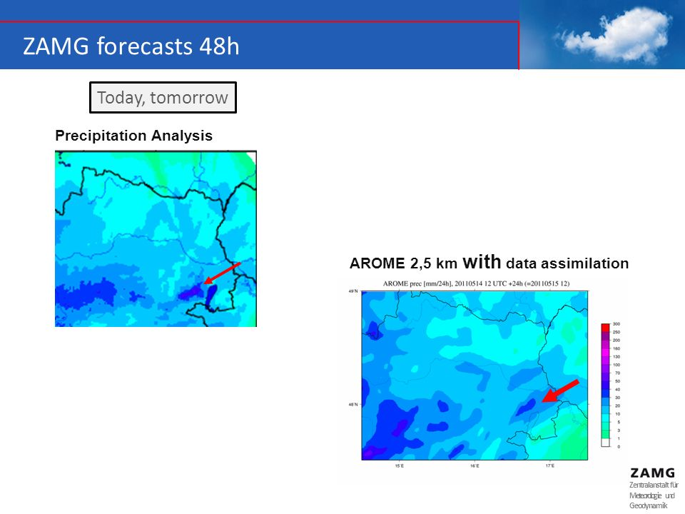 ZAMG forecasts 48h Today, tomorrow Precipitation Analysis