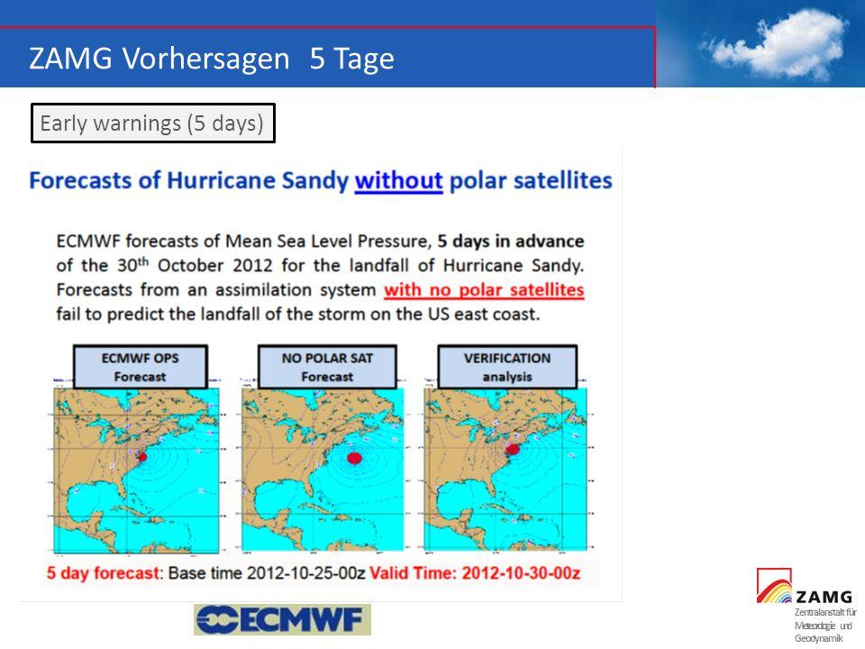 ZAMG Vorhersagen 5 Tage Early warnings (5 days) Zentralanstalt für