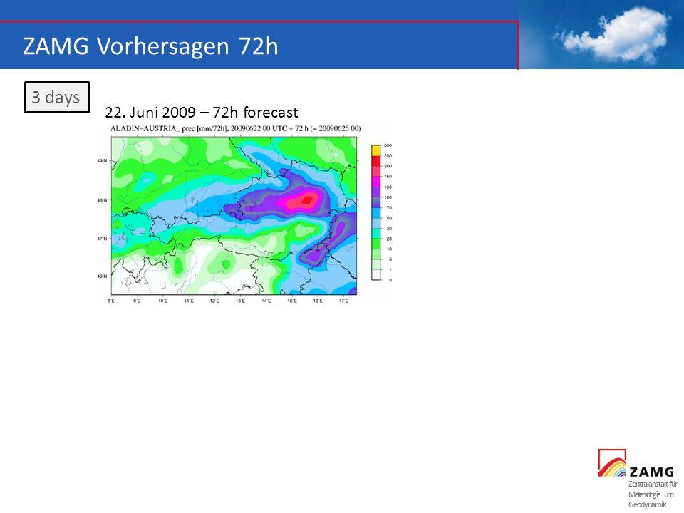 ZAMG Vorhersagen 72h 3 days 22. Juni 2009 – 72h forecast