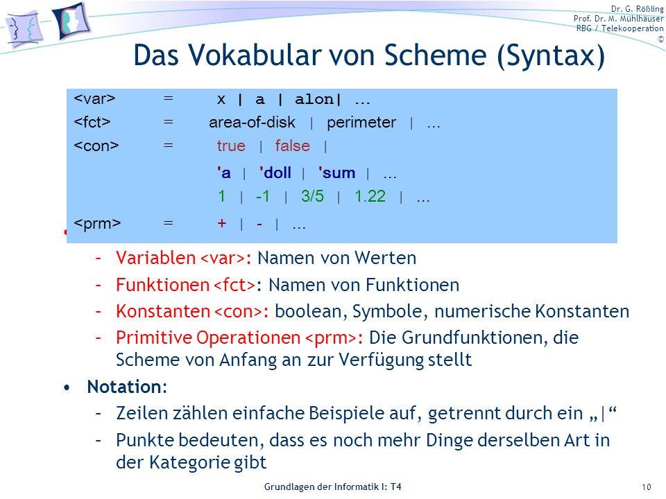 Das Vokabular von Scheme (Syntax)
