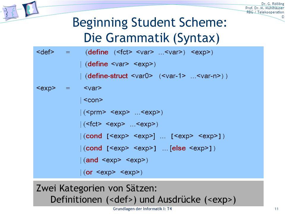 Beginning Student Scheme: Die Grammatik (Syntax)