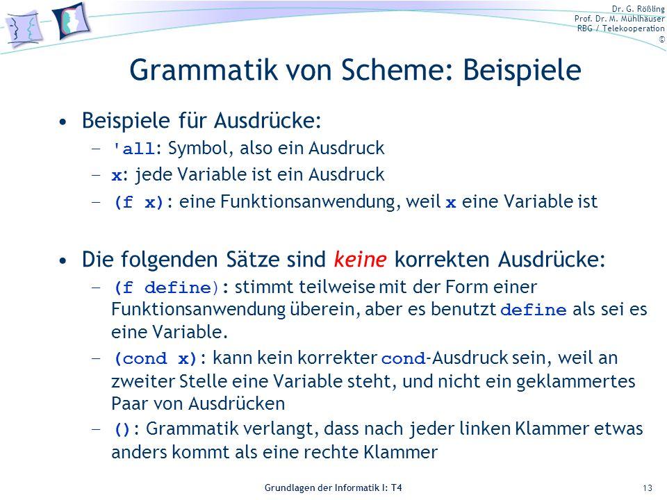 Grammatik von Scheme: Beispiele