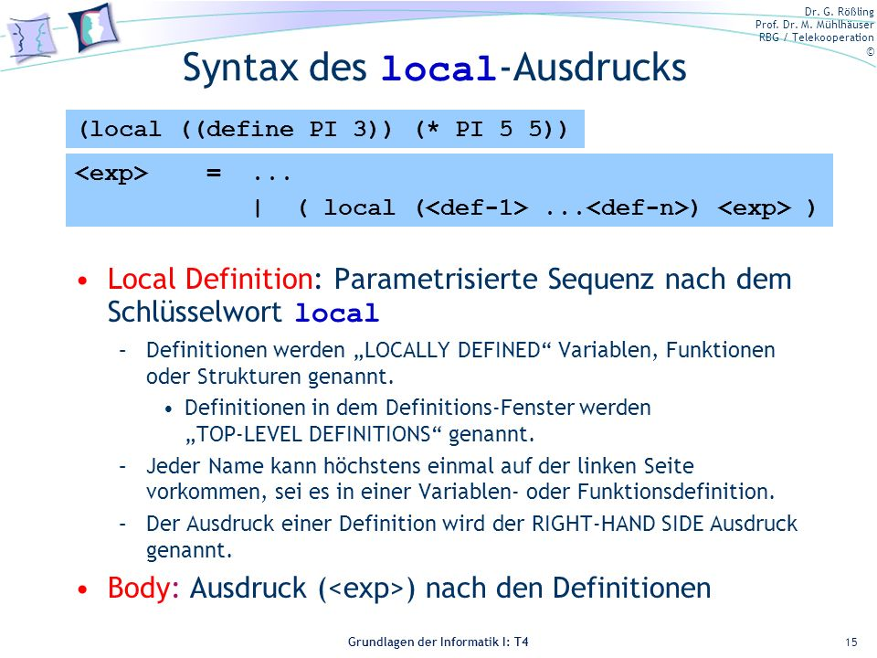 Syntax des local-Ausdrucks