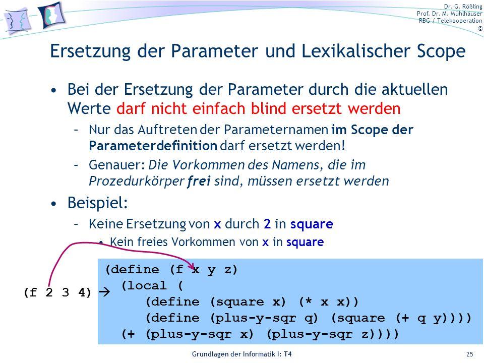 Ersetzung der Parameter und Lexikalischer Scope