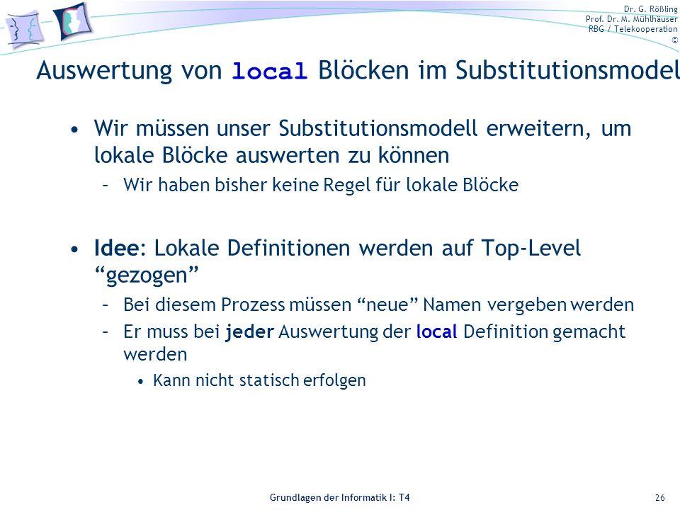Auswertung von local Blöcken im Substitutionsmodell