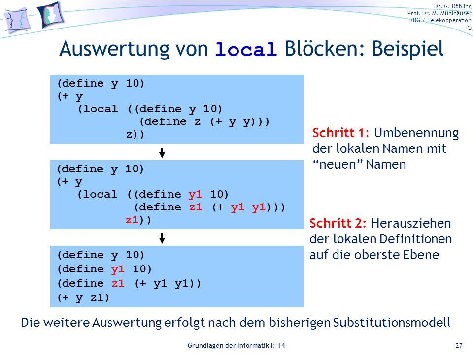Auswertung von local Blöcken: Beispiel