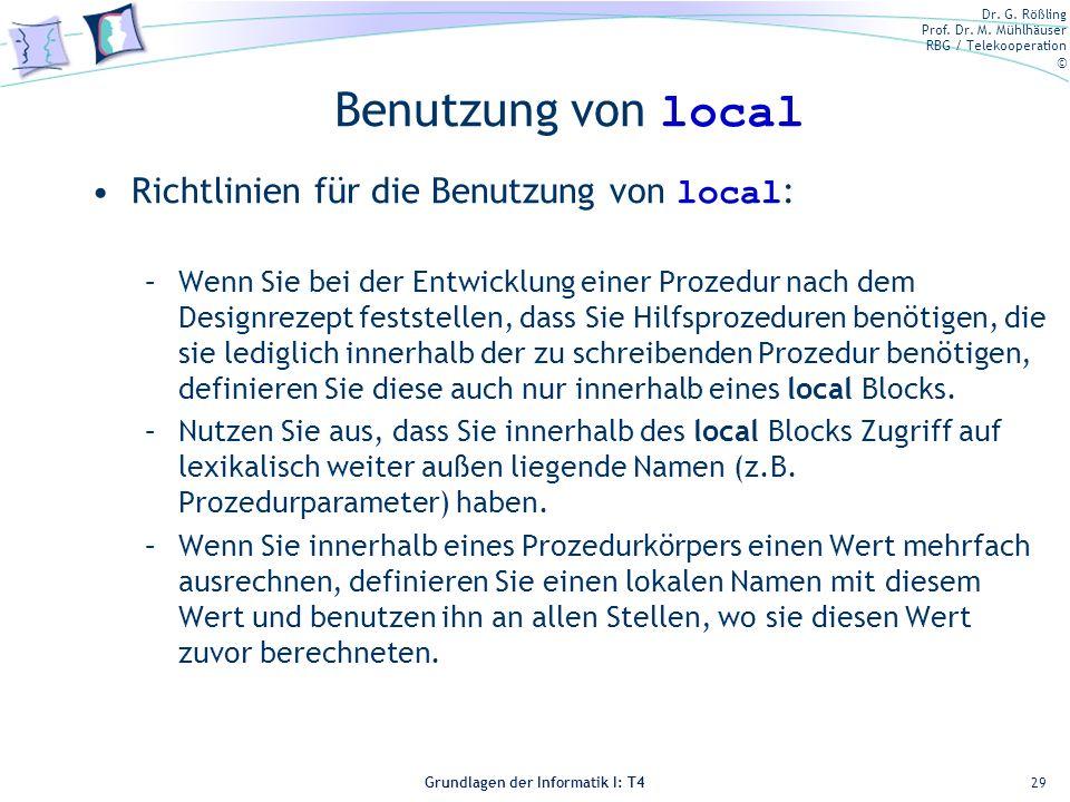 Benutzung von local Richtlinien für die Benutzung von local: