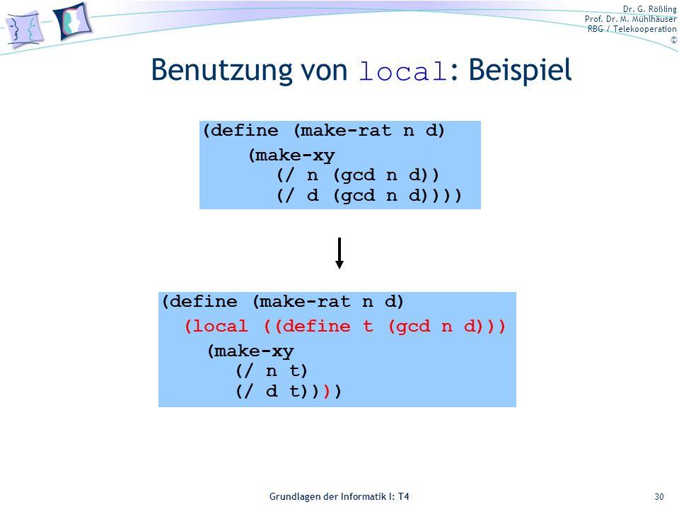 Benutzung von local: Beispiel