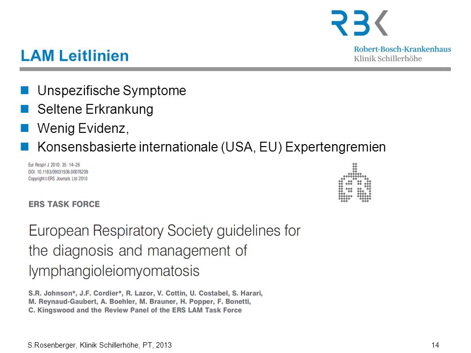 LAM Leitlinien Unspezifische Symptome Seltene Erkrankung