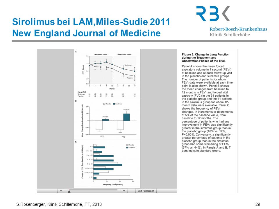 Sirolimus bei LAM,Miles-Sudie 2011 New England Journal of Medicine