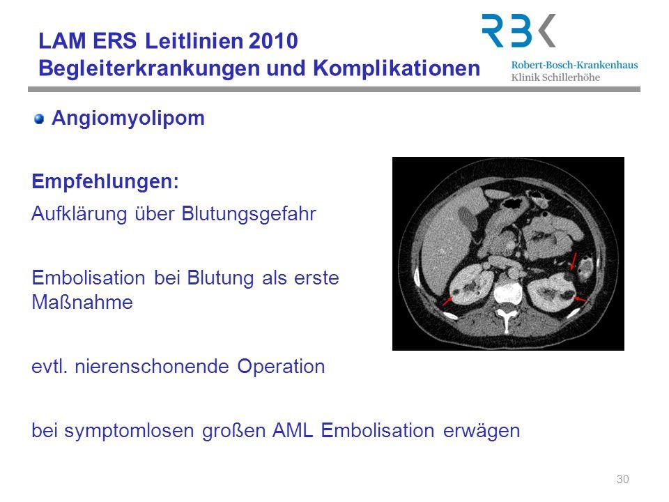 LAM ERS Leitlinien 2010 Begleiterkrankungen und Komplikationen