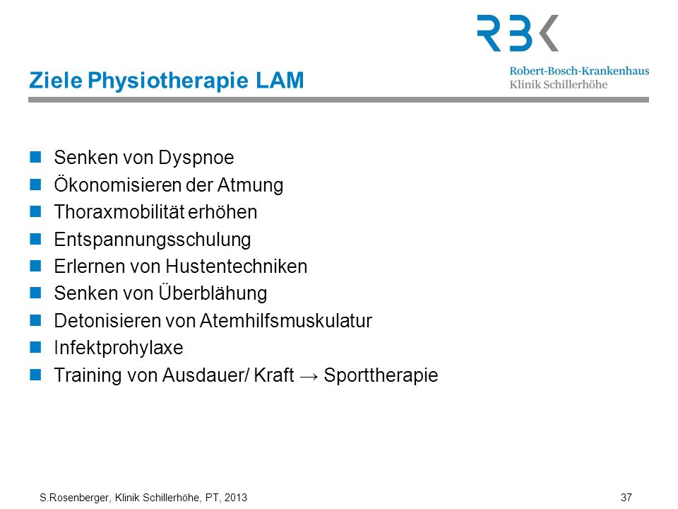 Ziele Physiotherapie LAM