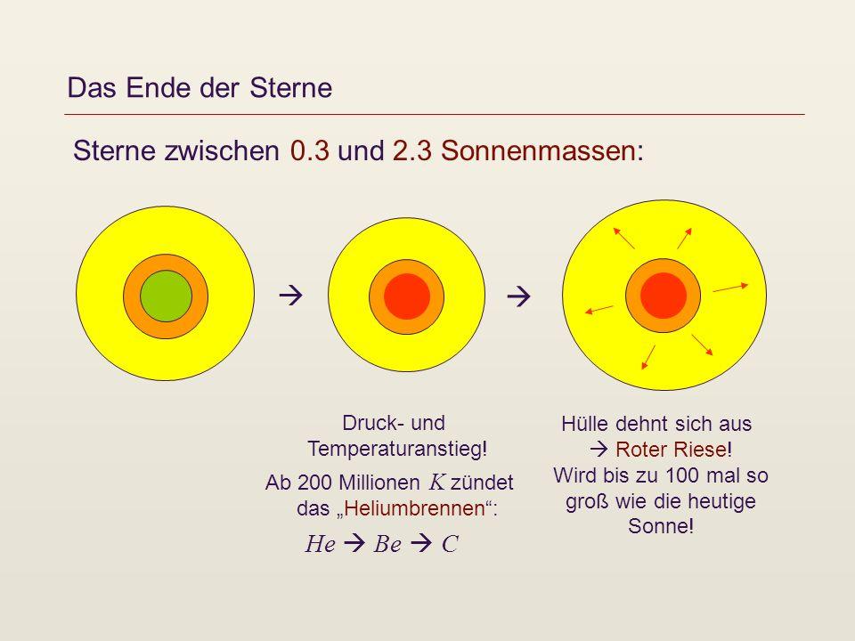 Sterne zwischen 0.3 und 2.3 Sonnenmassen: