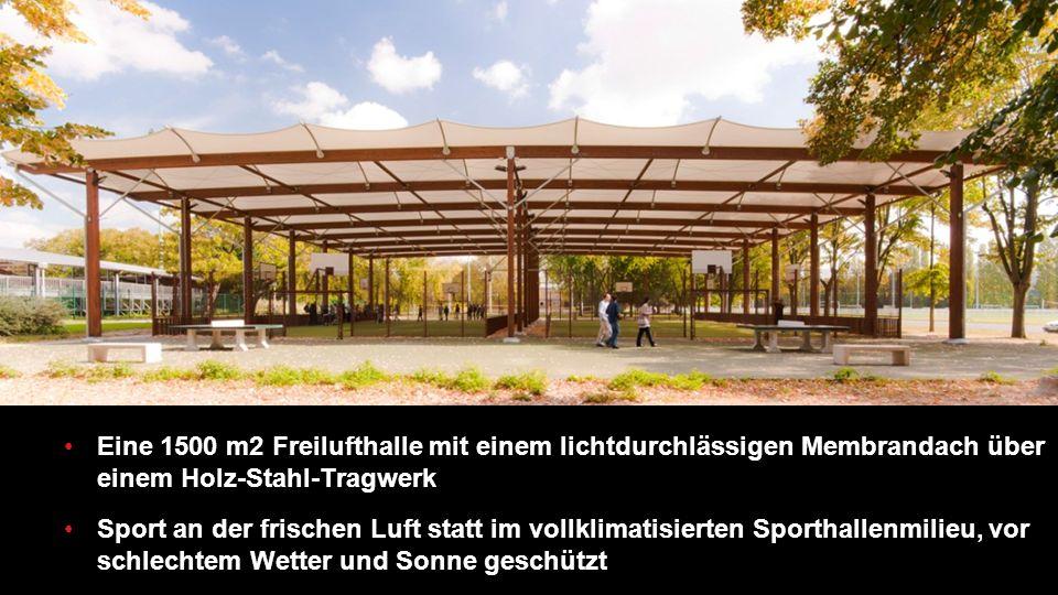 Eine 1500 m2 Freilufthalle mit einem lichtdurchlässigen Membrandach über einem Holz-Stahl-Tragwerk