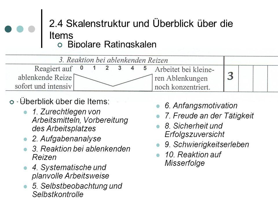 2.4 Skalenstruktur und Überblick über die Items