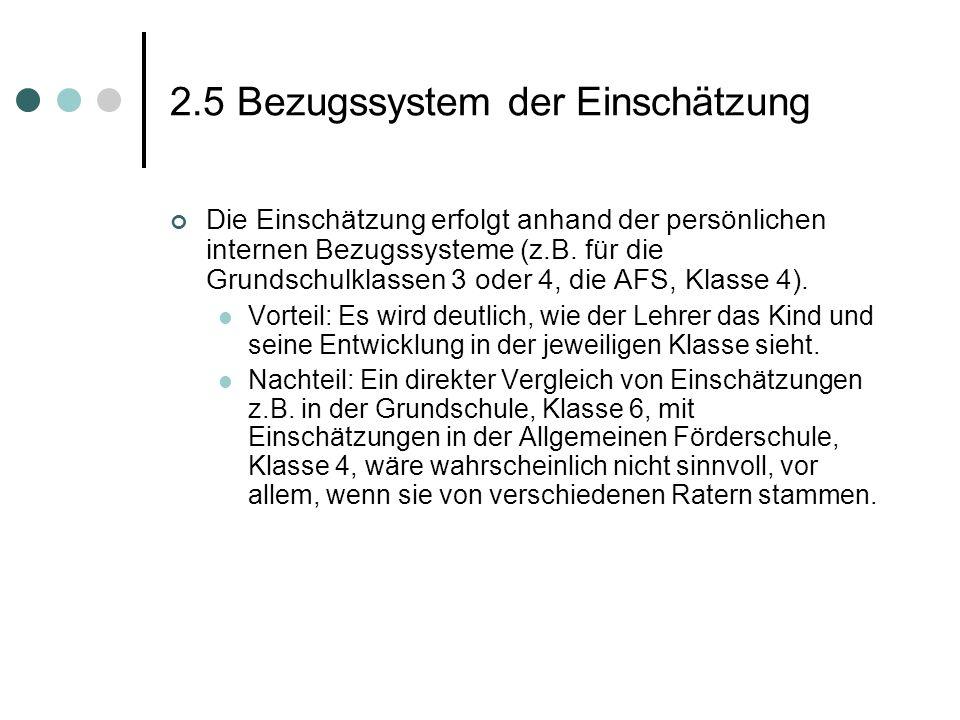 2.5 Bezugssystem der Einschätzung