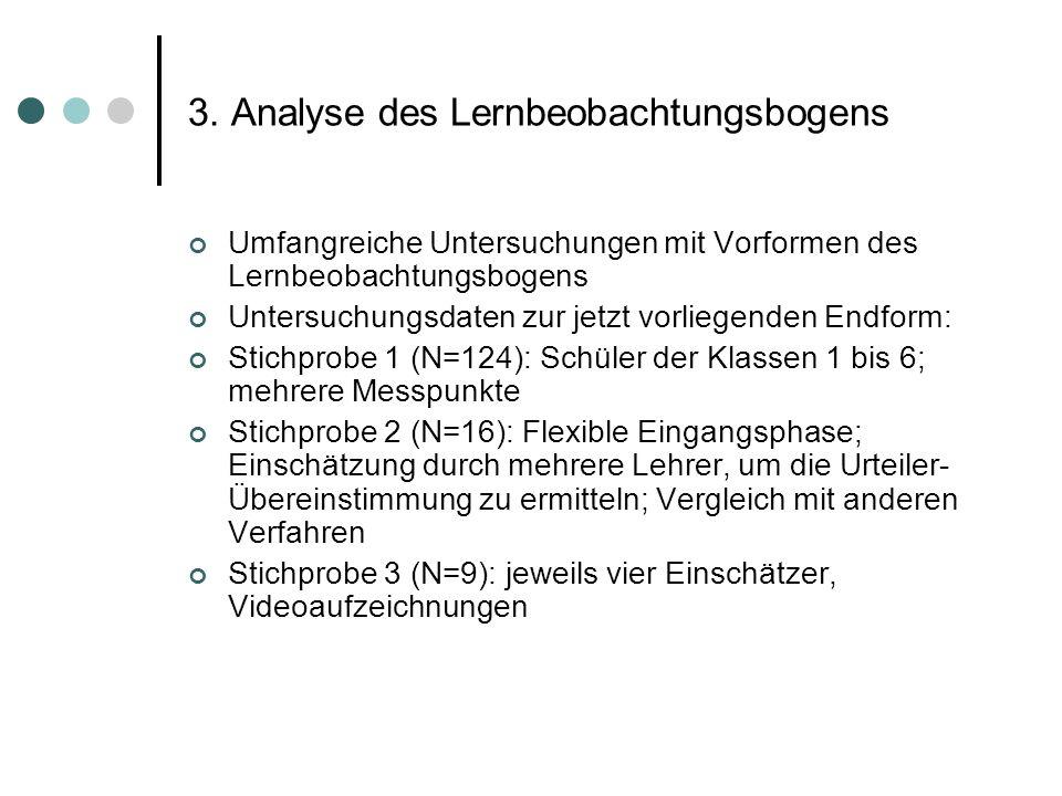 3. Analyse des Lernbeobachtungsbogens