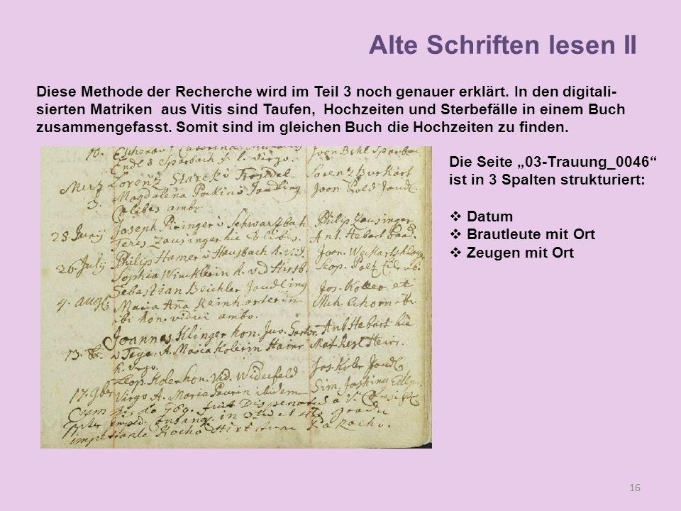 Alte Schriften lesen II