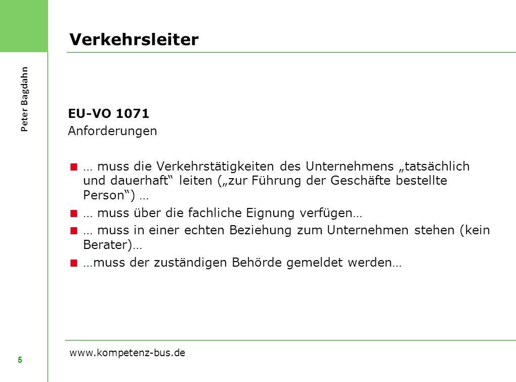 Verkehrsleiter EU-VO 1071 Anforderungen