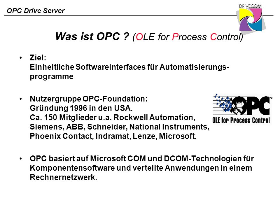 Was ist OPC (OLE for Process Control)