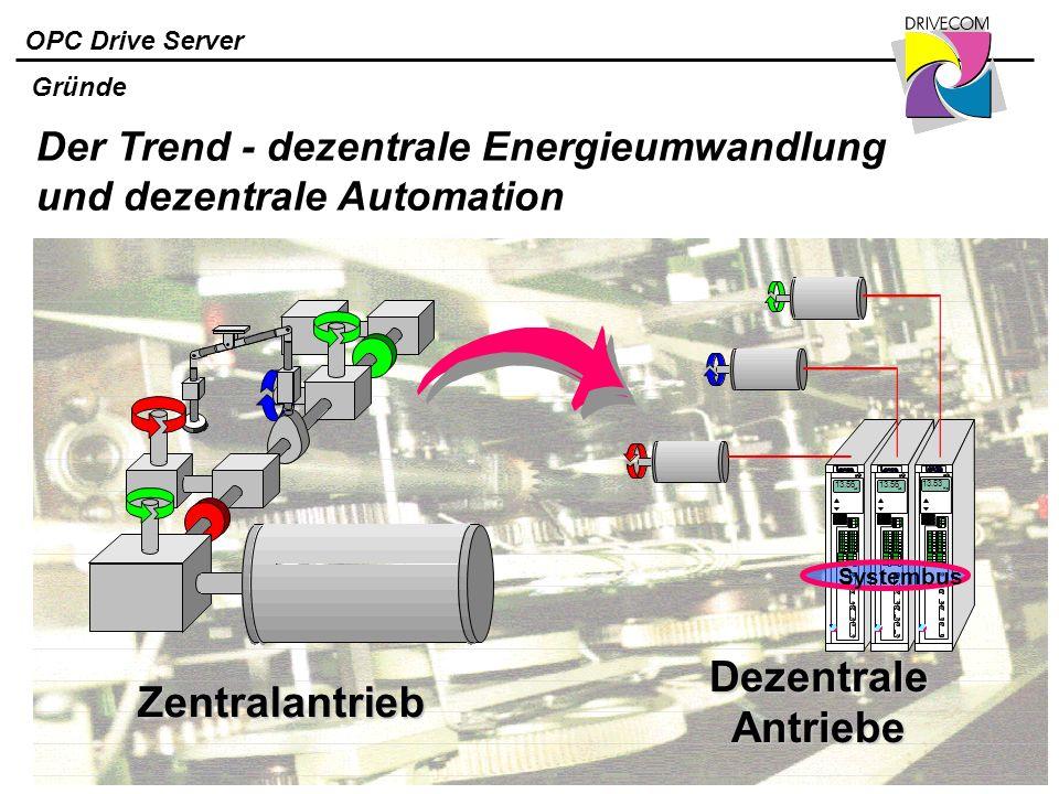 Dezentrale Antriebe Zentralantrieb