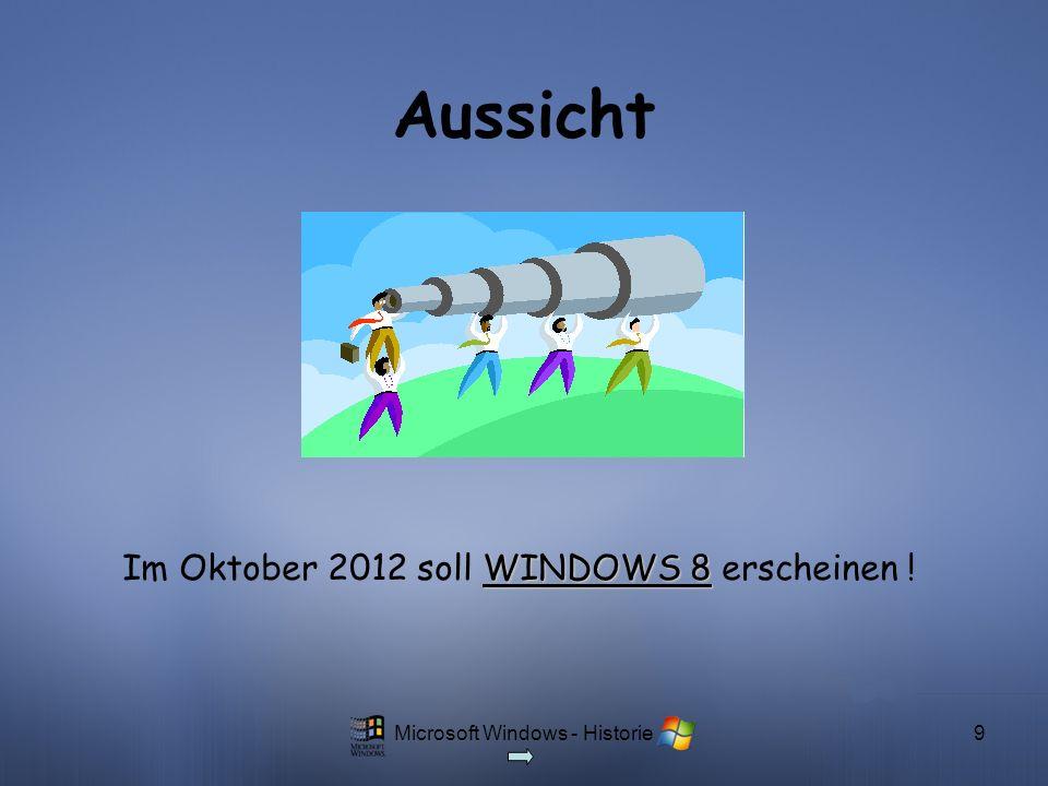Im Oktober 2012 soll WINDOWS 8 erscheinen !