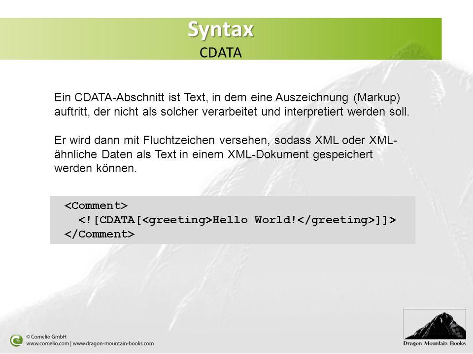 Syntax CDATA