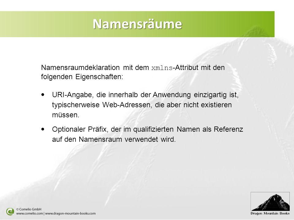 Namensräume Namensraumdeklaration mit dem xmlns-Attribut mit den folgenden Eigenschaften: