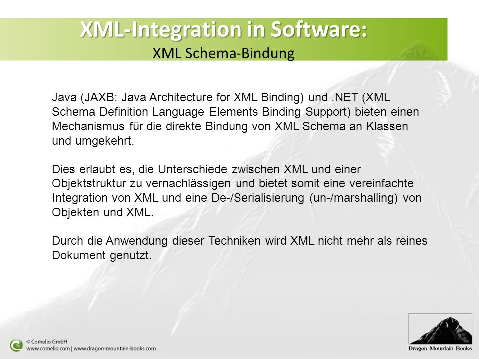 XML-Integration in Software: XML Schema-Bindung