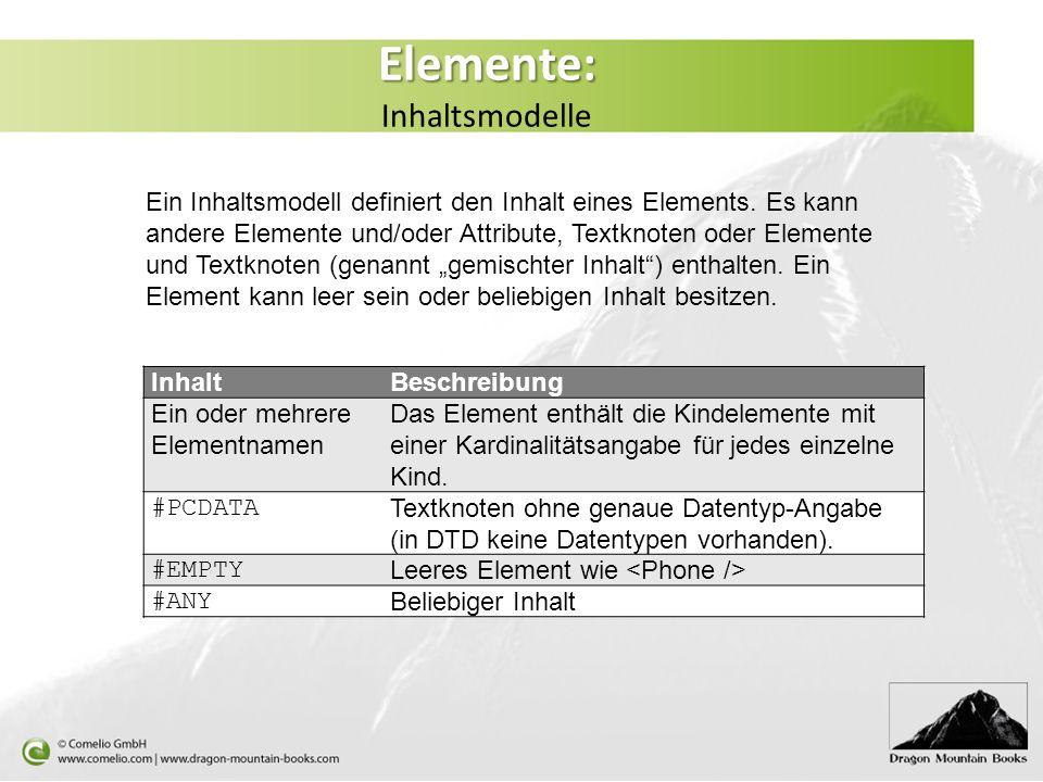 Elemente: Inhaltsmodelle