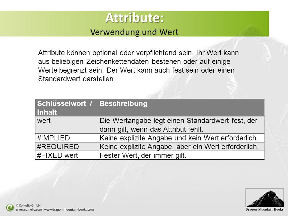 Attribute: Verwendung und Wert