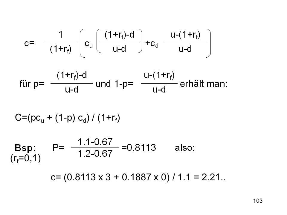 C=(pcu + (1-p) cd) / (1+rf)