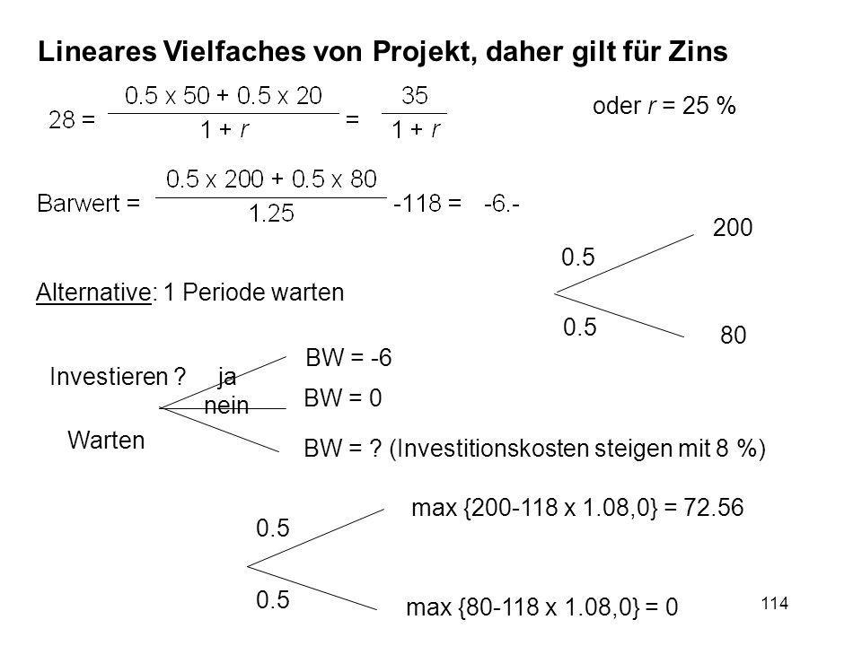 Lineares Vielfaches von Projekt, daher gilt für Zins