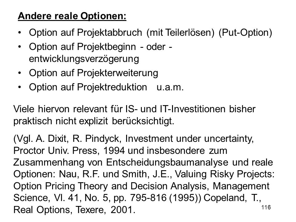 Andere reale Optionen: