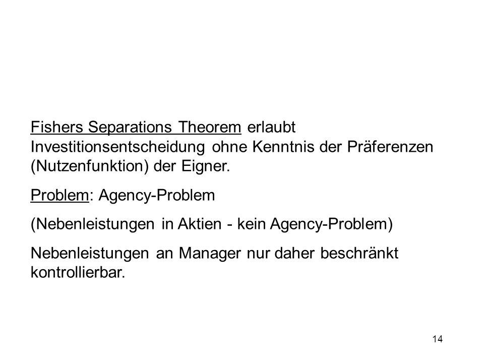 Fishers Separations Theorem erlaubt Investitionsentscheidung ohne Kenntnis der Präferenzen (Nutzenfunktion) der Eigner.