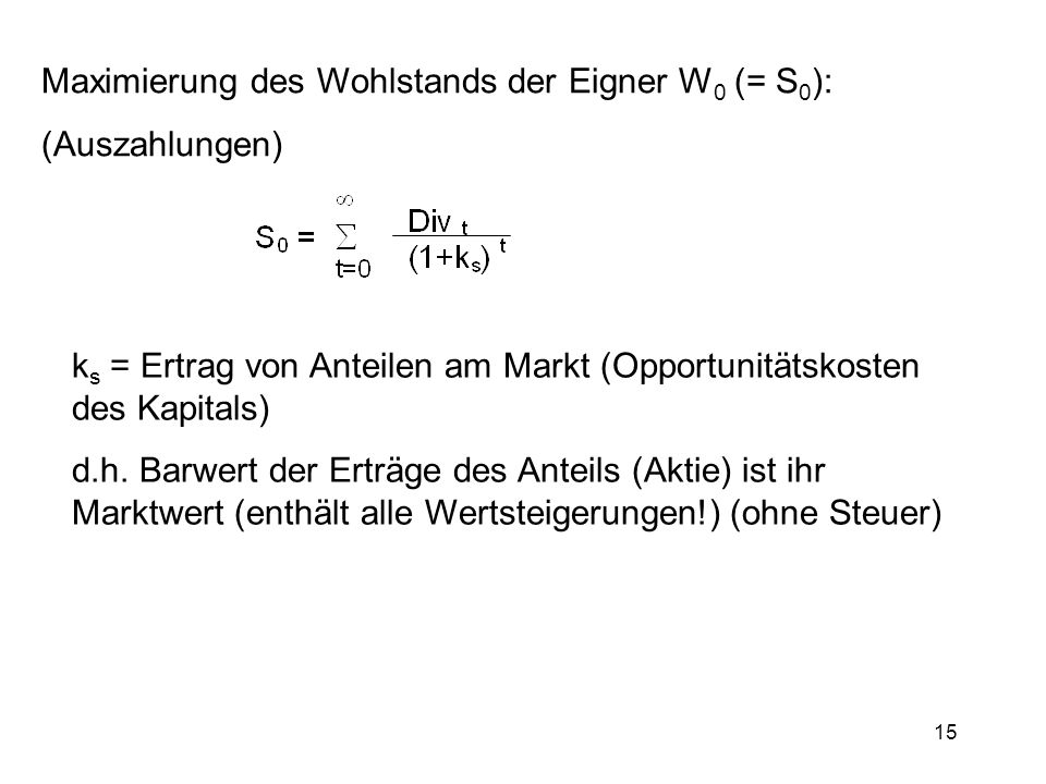 Maximierung des Wohlstands der Eigner W0 (= S0):