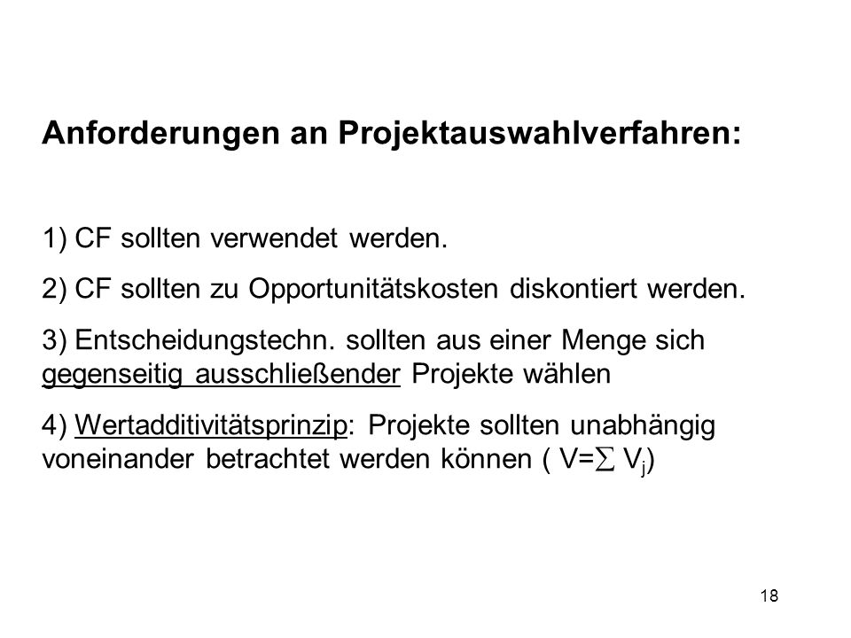 Anforderungen an Projektauswahlverfahren: