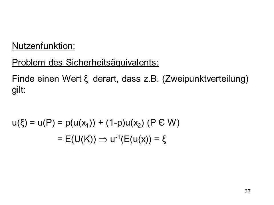 Nutzenfunktion:Problem des Sicherheitsäquivalents: Finde einen Wert ξ derart, dass z.B. (Zweipunktverteilung) gilt: