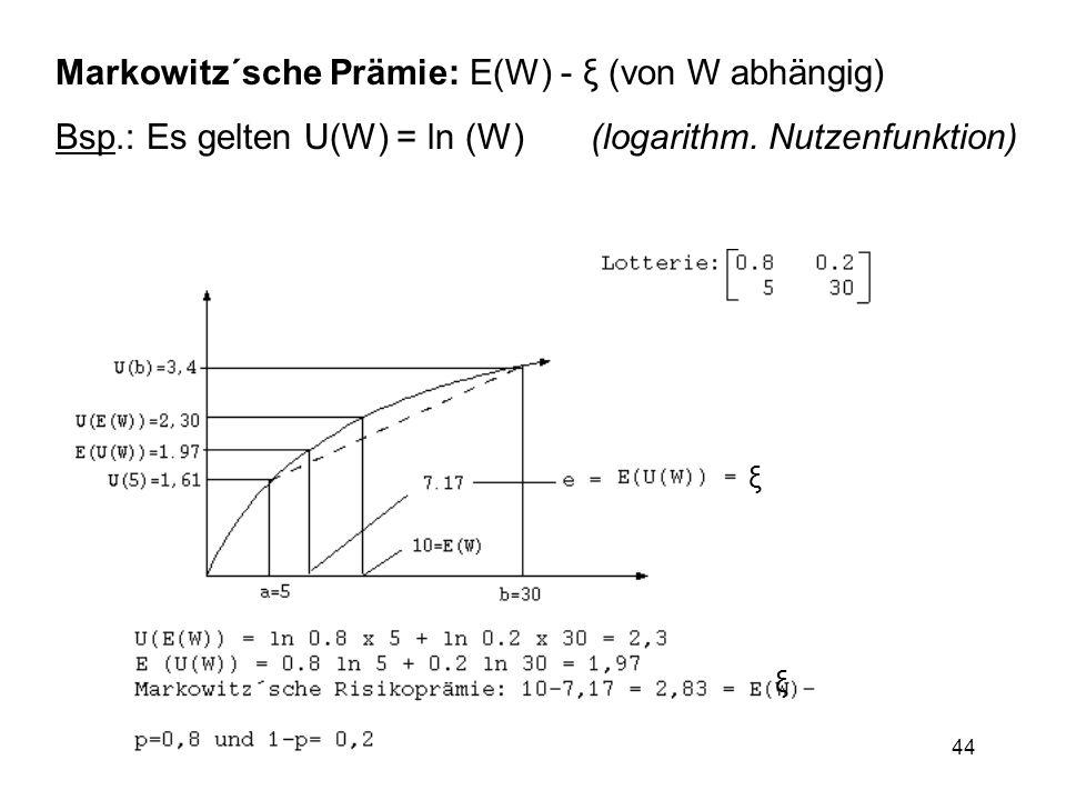 Markowitz´sche Prämie: E(W) - ξ (von W abhängig)