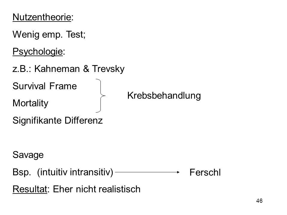 Nutzentheorie:Wenig emp. Test; Psychologie: z.B.: Kahneman & Trevsky. Survival Frame. Mortality. Signifikante Differenz.