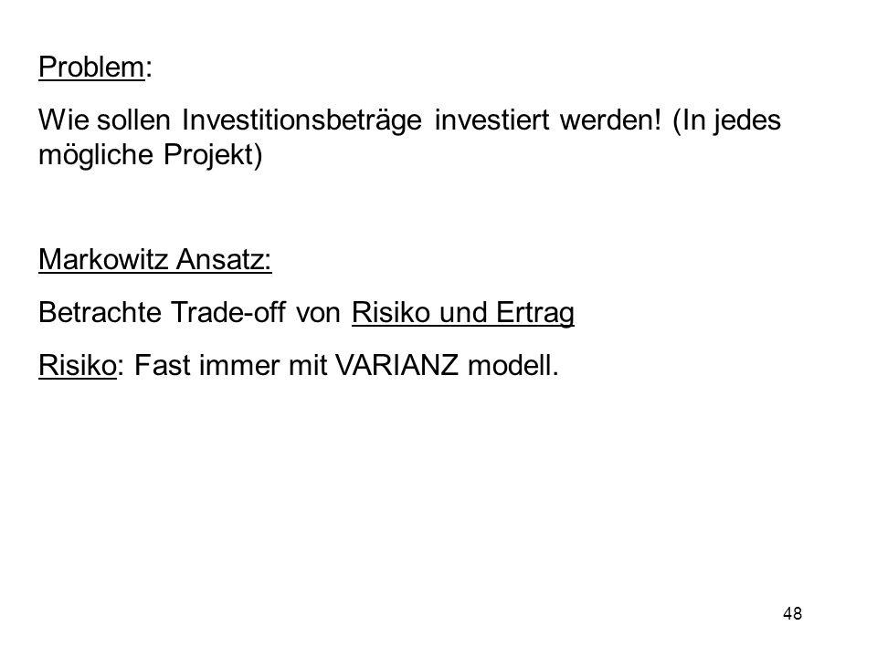 Problem:Wie sollen Investitionsbeträge investiert werden! (In jedes mögliche Projekt) Markowitz Ansatz: