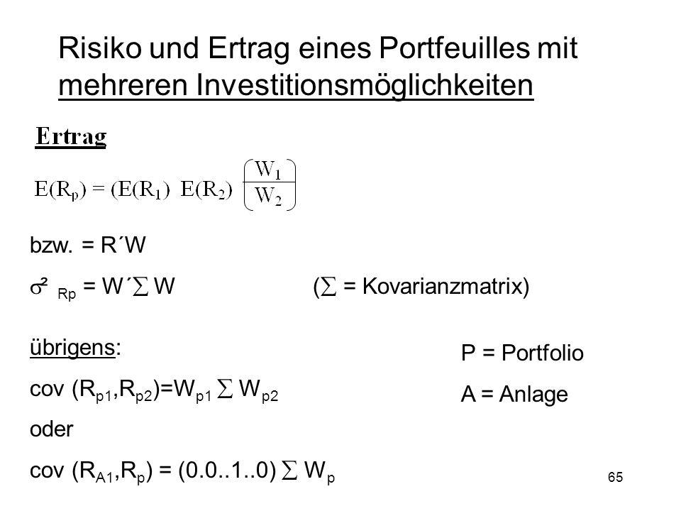 Risiko und Ertrag eines Portfeuilles mit mehreren Investitionsmöglichkeiten